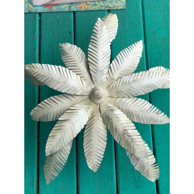 Boho Chic Vintage 1980s Regency Tole Palm Leaf Ceiling Light For Sale - Image 3 of 12