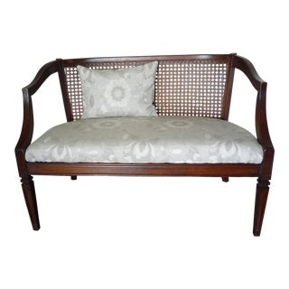 Mid-Century Walnut & Wicker Loveseat For Sale