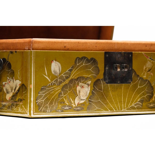 2010s Hand-Painted Lotus Scene Chartreuse Leather Box on Patinated Brass Stand as Side Table by Lawrence & Scott For Sale - Image 5 of 13