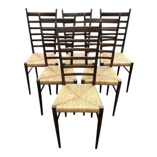 Vintage Mid-Century Wood and Rush Italian Gio Ponti Style Ladder Back Chairs- Set of 6 For Sale