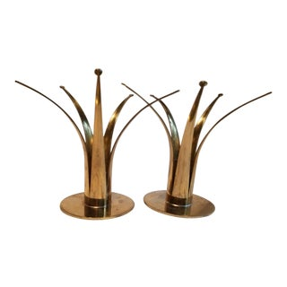 50's Scandinavian Ystad Brass Candleholders - a Pair For Sale