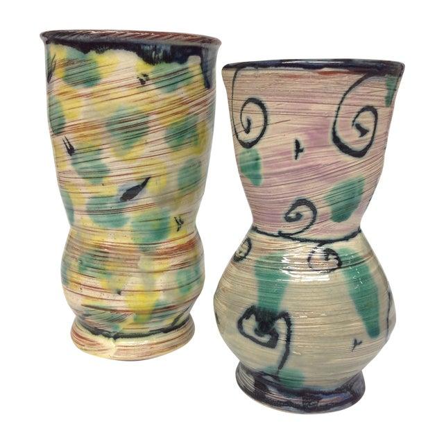 Gregory Zeorlin Pastel Studio Pottery Vases - Pair - Image 1 of 4