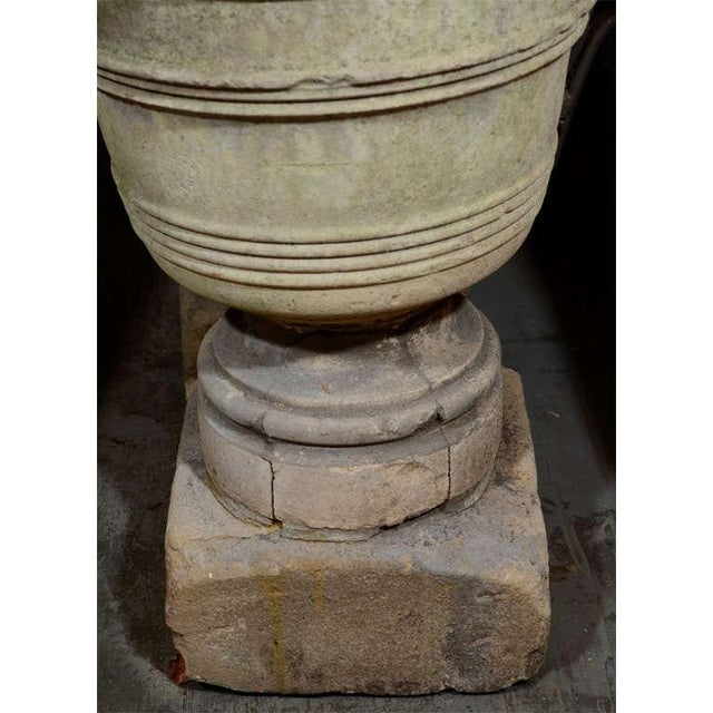 19th Century French Stone Urns on Pedestals - a Pair For Sale - Image 4 of 6