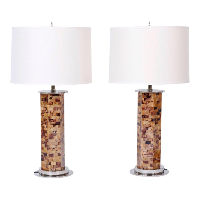Horn Veneer Table Lamps - A Pair For Sale