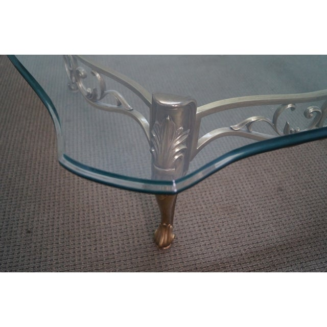 Vintage Brass & Glass French Louis XV Coffee Table - Image 4 of 10