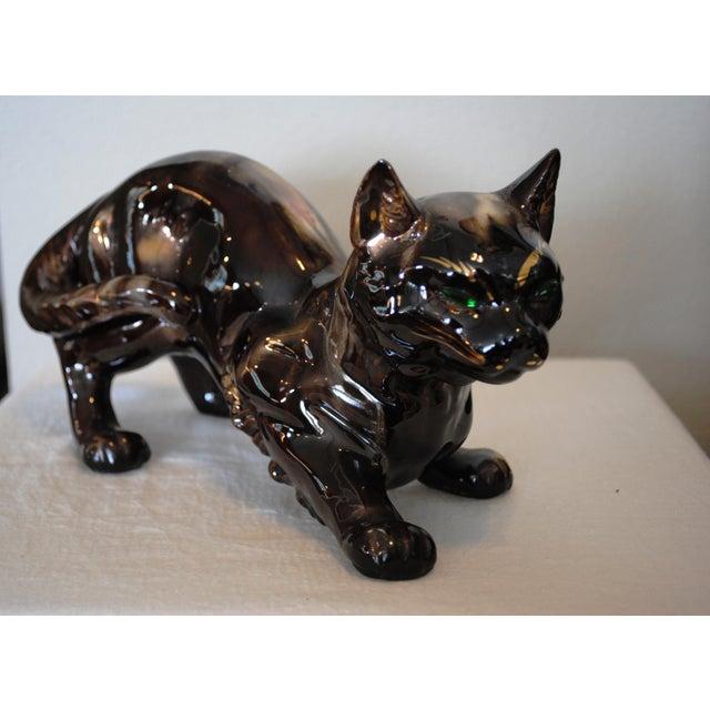 "Brown Vintage 'Golden Bronze"" Ceramic Crouching Cat Figurine For Sale - Image 8 of 8"