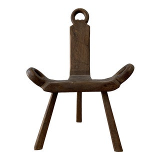 Late 20th Century Vintage Primitive Belgium Wood Chair For Sale