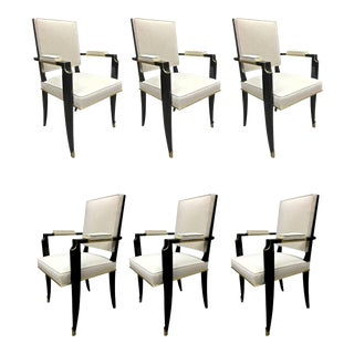 Maurice Jallot Set of 6 Chicest Black Chairs With Gold Bronze Details For Sale