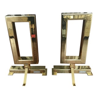 Dragonette Ltd. Los Angeles Brass Gable Andirons - a Pair