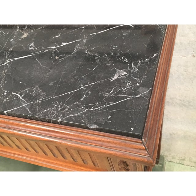 Black Marble 20th Century Louis XVI Style Neoclassical Console Table With Three Drawers For Sale - Image 7 of 13
