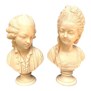 1920s Ivory Resin Girl & Boy Busts - a Pair For Sale