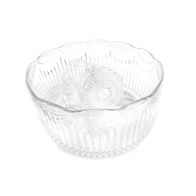 1930s Vintage Lancaster Glass Co. Mid Century Royal Drape Punch Cups and Bowl For Sale - Image 5 of 5