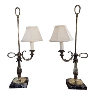Vintage Library Brass Table Lamps - a Pair For Sale