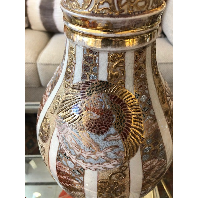 Asian Antique Asian Vase With 24k Gold Accents For Sale - Image 3 of 9