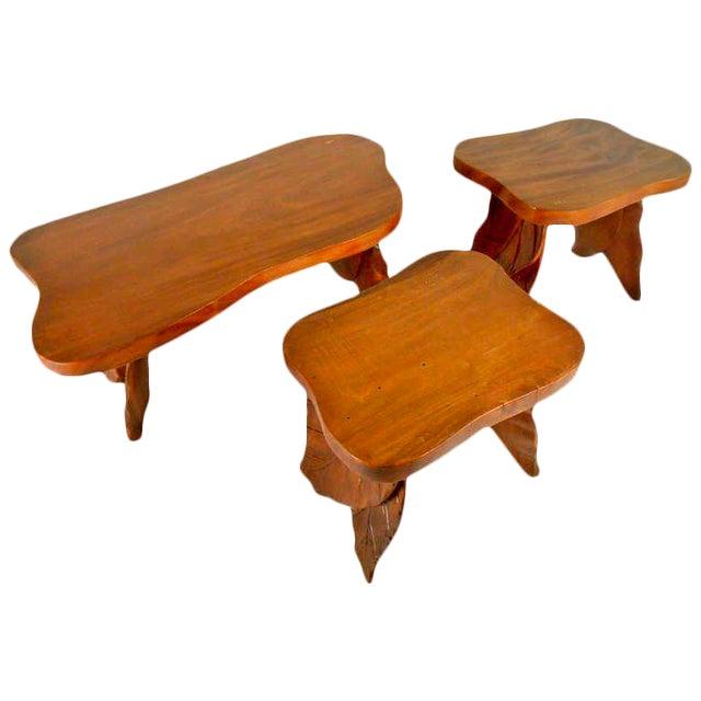 Vintage American Carved Tables - Set of 3 For Sale