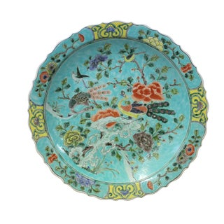 Chinese Turquoise Blue Base Color Painting Porcelain Plate For Sale