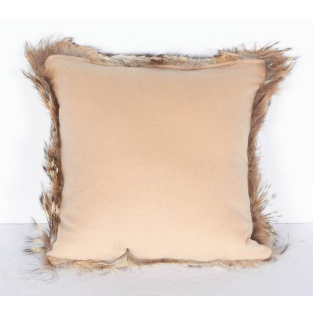 Luxury Fur Throw Pillow in Genuine Coyote and Cashmere For Sale - Image 9 of 9