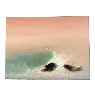 Original Vintage 1970's Abstract Seascape Oil Painting For Sale