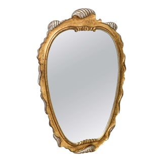 Hollywood Regency Style Gold and Silver Gilt-Wood Mirror For Sale