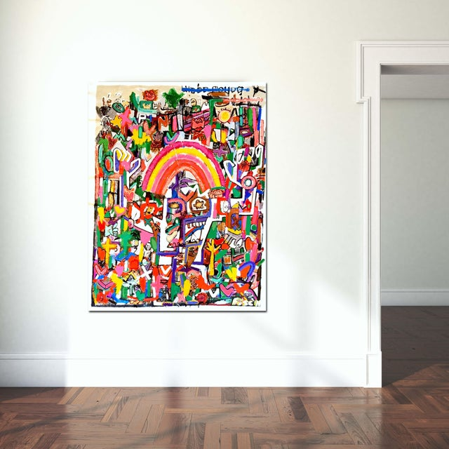 """The Whirling Rainbow Man"" Mixed Media Painting by Jonas Fisch For Sale In Los Angeles - Image 6 of 9"