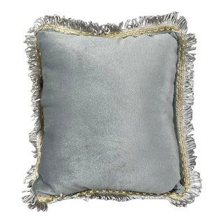 French Velvet Pillow With Fringes For Sale