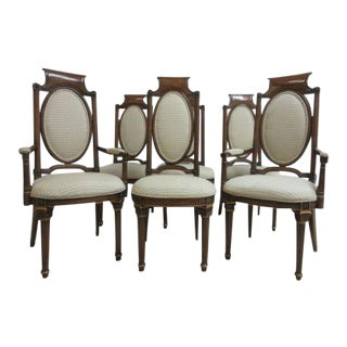 Vintage Mastercraft French Regency Walnut Dining Room Side Arm Chairs - Set of 6 For Sale