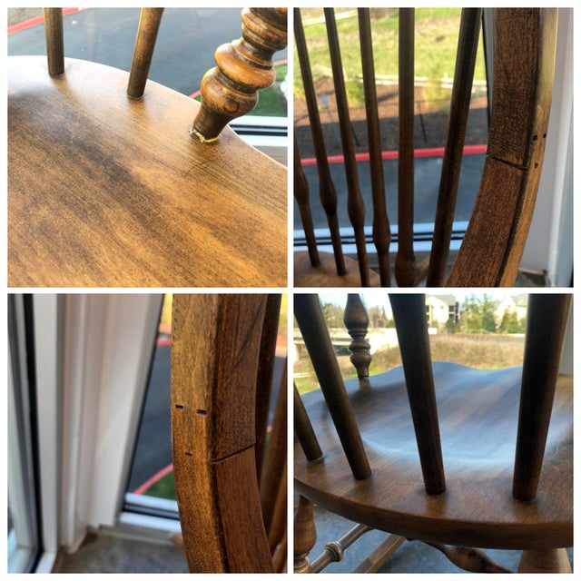 19th C. Ethan Allen Antique Solid Maple Windsor Rocking Chair For Sale - Image 10 of 13