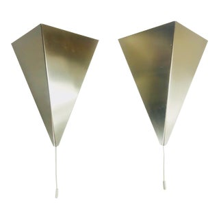1960s Mid-Century Modern Triangle Metal Wall Lamps by Bankamp, Germany - a Pair For Sale