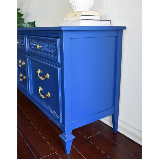 Modern Permacraft Nine Drawer Navy Blue Dresser With Carved Front For Sale - Image 3 of 13