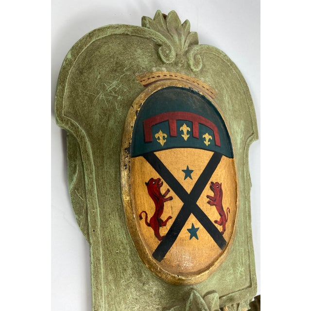 1940s Vintage Italian Wood Sconce With Crest - a Pair For Sale - Image 5 of 12