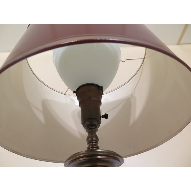 Vintage Brass Table Lamp & Tole Metal Shade For Sale In Philadelphia - Image 6 of 8