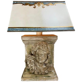 19th Century Carved Cherub Face Lamp With Custom Parchment Shade $1,850 For Sale
