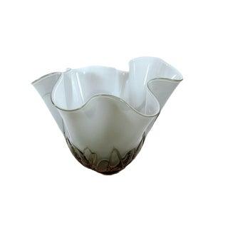 Art Nouveau Hand Blown Handkerchief Vase in Sage