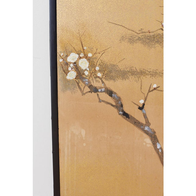 Wood Japanese Four-Panel Screen Prunus Tree With Nandina For Sale - Image 7 of 13
