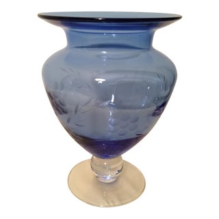 Vintage Copenhagen Blue Hand Blown Vase by Tiffin Glass