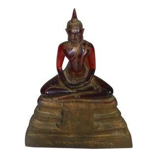 Vintage Chinese Molded Resin Statue of Buddha in Lotus Position