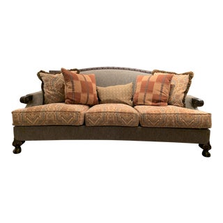 Grey and Terracotta Colored Upholstered Mr. Knuckles Sofa with Pillows by Paul Roberts For Sale