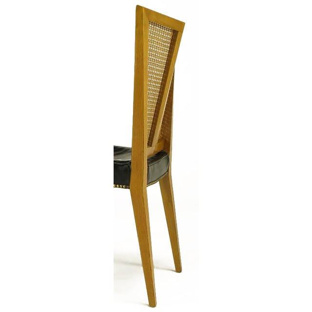 Wood Set of Six Michael Taylor for Baker Walnut and Leather Dining Chairs For Sale - Image 7 of 9