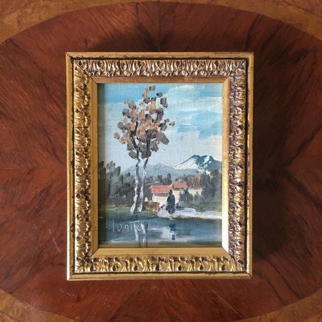 Mid 20th Century Miniature Italian Landscape Oil Painting For Sale - Image 5 of 5