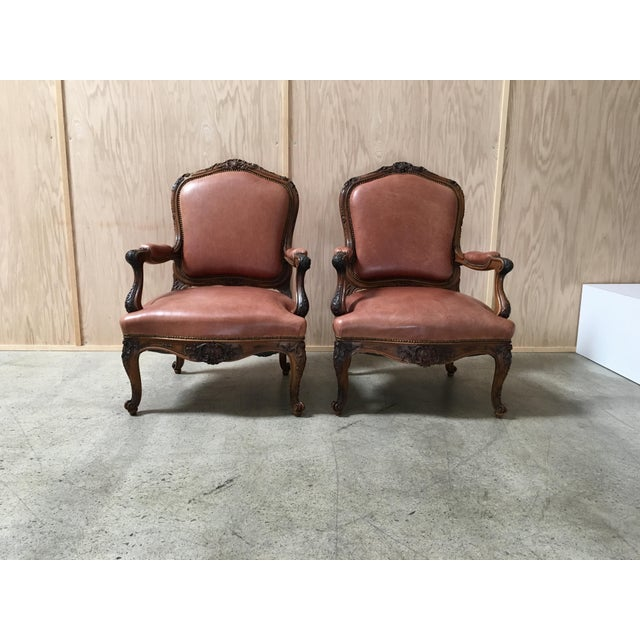Pair Louis XV Style Hand Carved Walnut Distressed Leather ...