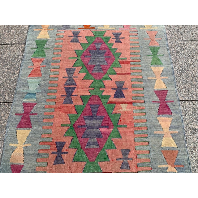 1990s Wool on Wool Village Rug - 3′ × 3′7″ For Sale - Image 4 of 5