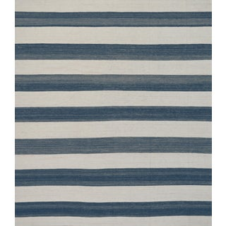 Mansour Striped Wool Handwoven Flat Weave Rug For Sale