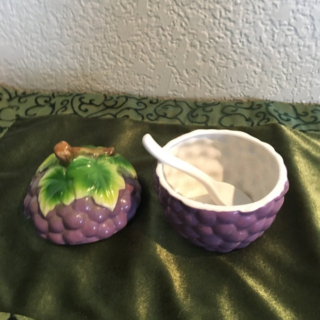 Vintage Grape Cluster Jam Tromp L'oeil Container Dish With Spoon For Sale - Image 4 of 7