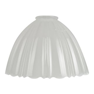 Vintage Opal Glass Gas Pendant Light Shade W/ Scalloped Edge For Sale
