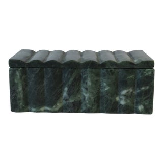Modern Green and White Marble Box For Sale