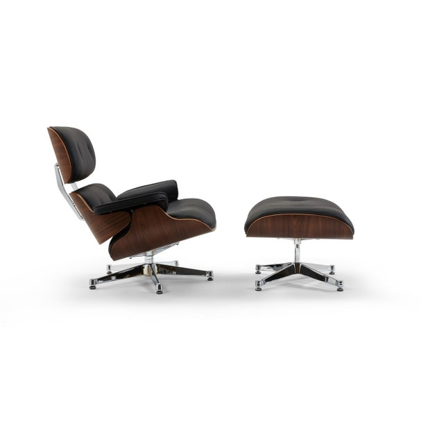 Animal Skin Pasargad's Florence Black Leather Lounge Chair & Ottoman For Sale - Image 7 of 10