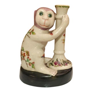 1980s Vintage Chinoiserie Monkey Candle Holder For Sale