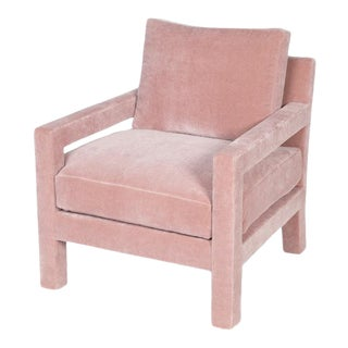 Harper Chair, Mohair, Blush Pink For Sale