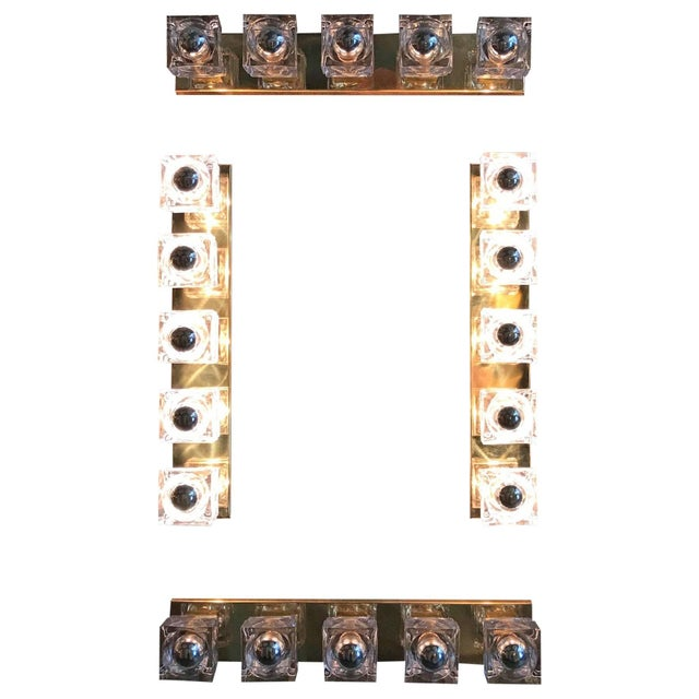 Italian wall sconce with Sciolari 1960s Vintage clear Murano glass cubes mounted on newly made polished brass frames /...