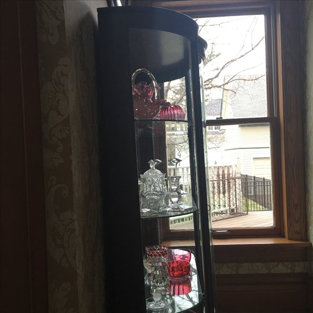 Brown Antique Curved Glass Cabinet With Glass Shelves For Sale - Image 8 of 8
